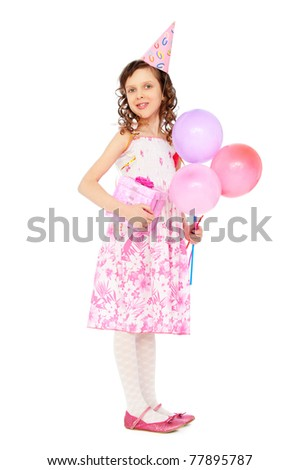 full-length portrait of joyous girl with balloons over white background - stock photo