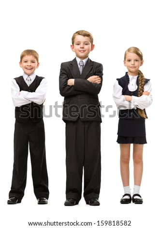 Full-length portrait of little children with hands crossed, isolated. Concept of teamwork and cooperation - stock photo
