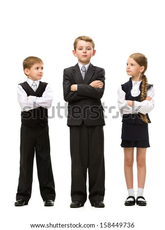 Full-length portrait of little children with hands crossed, isolated on white background. Concept of teamwork and cooperation - stock photo