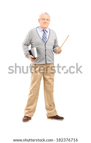 Full length portrait of male teacher holding stick and a book isolated on white background - stock photo