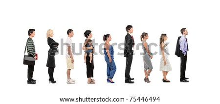 Full length portrait of men and women standing together in a line isolated on white background - stock photo