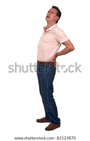 Full Length Portrait of Middle Age Man with Back Pain wearing Casual Clothes - stock photo
