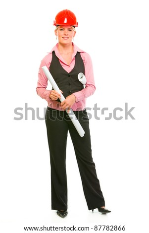 Full length portrait of modern architect woman holding flip charts isolated on white - stock photo