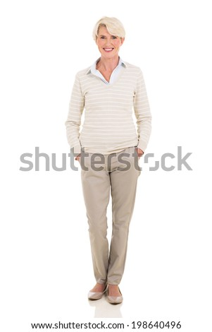 full length portrait of modern mid age woman isolated on white - stock photo