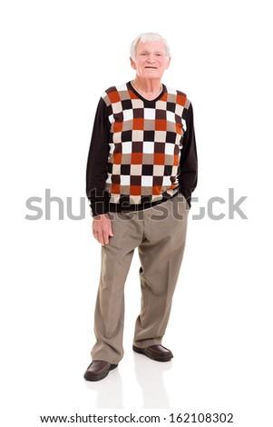 full length portrait of senior man on white background - stock photo