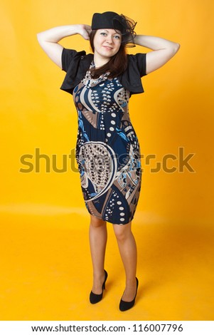 full-length portrait of sexy young woman - stock photo