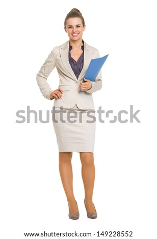 Full length portrait of smiling business woman with folder