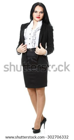 Full length portrait of smiling modern business woman isolated on white