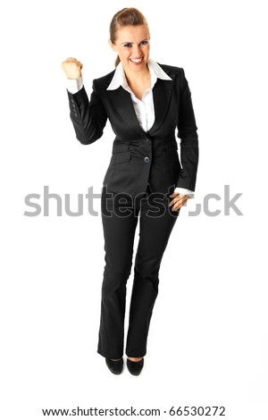 Full length portrait of successful modern business woman