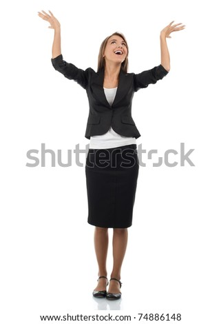 Full length portrait of successful young businesswoman raising her arms in joy. Isolated on white background - stock photo