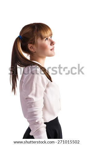 Full length portrait of teenage schoolgirl in formal clothes - stock photo
