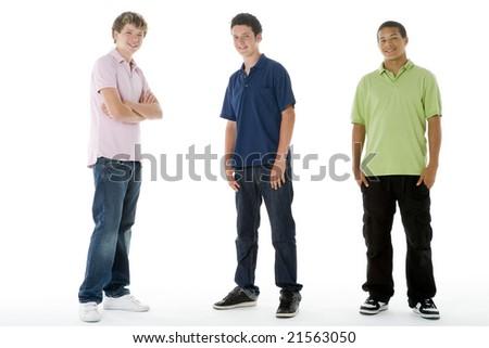 Full Length Portrait Of Teenagers - stock photo