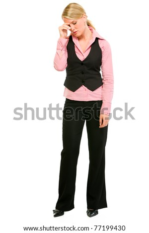 Full length portrait of tired modern business woman isolated on white - stock photo