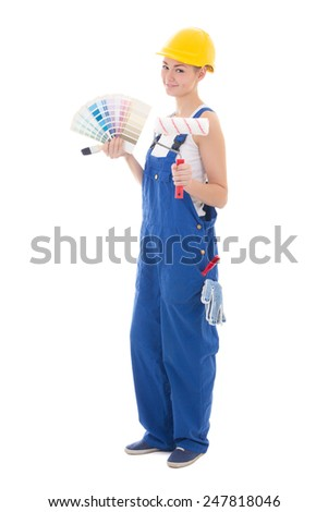 full length portrait of woman painter in workwear with paintbrush and color palette isolated on white background - stock photo