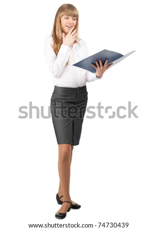 Full length portrait of young attractive businesswoman with blue folder in her hand, isolated on white background