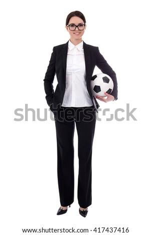 full length portrait of young beautiful business woman with soccer ball isolated on white background - stock photo