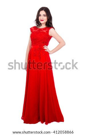 full length portrait of young beautiful woman in red dress isolated on white background - stock photo
