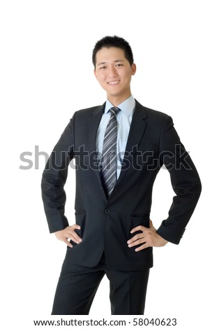 Full length portrait of young business man of Asian on white background. - stock photo