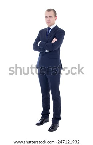 full length portrait of young handsome man in business suit isolated on white background - stock photo