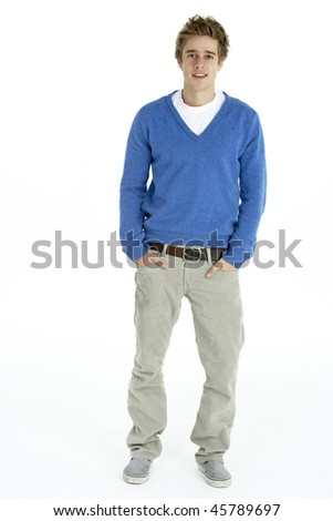 Full Length Portrait Of Young Man - stock photo