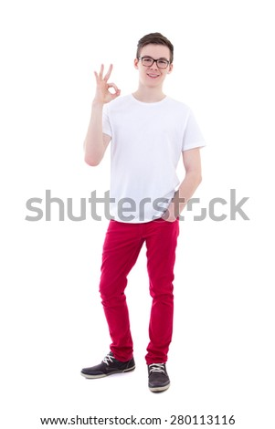full length portrait of young man showing ok sign isolated on white background - stock photo