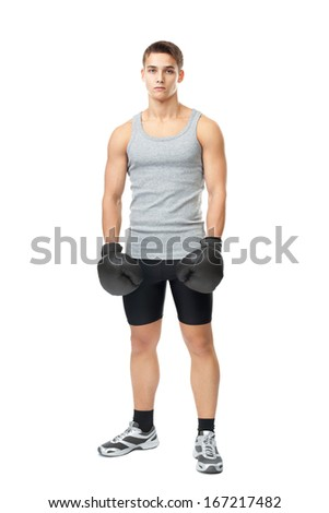 Full length portrait of young muscular athlete man with boxing gloves isolated on white background