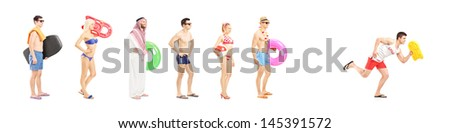 Full length portrait of young people with summer objects waiting in line and lifeguard running isolated on white background, shot with a tilt and shift lens