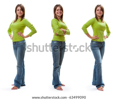 Full length portrait of young smiling women. Isolated on white background - stock photo