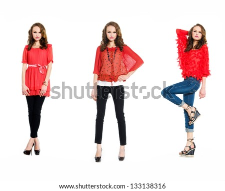 full length portrait of young three woman in red clothing posing - stock photo
