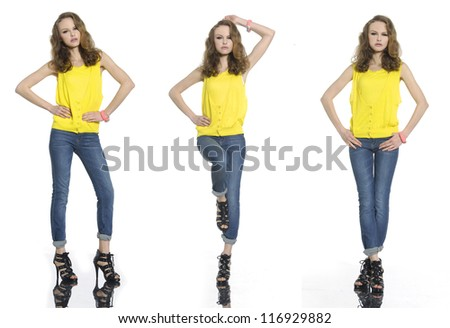 full length portrait of young woman in yellow shirt posing - stock photo