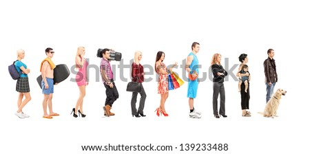 Full length portraits of different people waiting in a line, isolated on white background