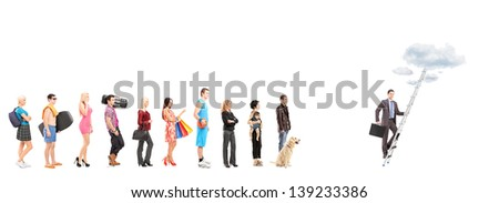 Full length portraits of people waiting in a line and a businessman climbing a ladder with clouds, isolated on white background - stock photo