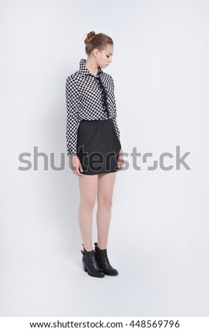 Full length Pretty portrait of a casual young fashion model posing  - stock photo