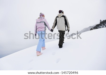 Full length rear view of a couple holding hands and walking on snow covered hill - stock photo