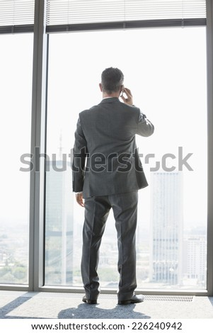 Full length rear view of mature businessman using cell phone white standing near window - stock photo