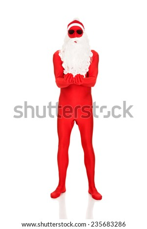 Full length santa in latex clothes with open hands. - stock photo