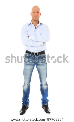 Full length shot of a confident middle age man. All on white background. - stock photo