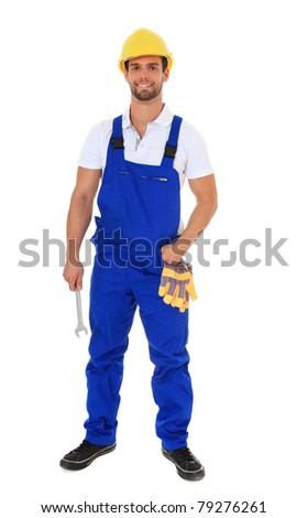 Full length shot of a construction worker. All on white background. - stock photo