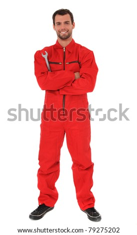 Full length shot of a smiling mechanic. All on white background. - stock photo