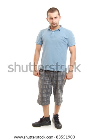 full length shot of a young man in blue shirt, isolated on white - stock photo