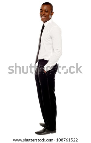 Full length shot of african businessman posing in style isolated over white - stock photo