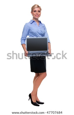 Full length shot of an attractive blond woman holding a laptop computer, screen is blank and has a clipping path to add your own message, isolated on a white background.
