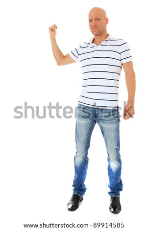 Full length shot of an attractive man pointing at the background. All isolated on white. - stock photo