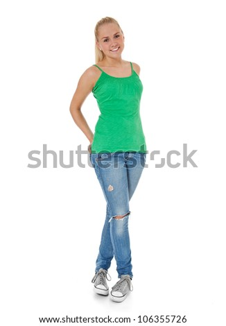 Full length shot of an attractive teenage girl. All on white background. - stock photo
