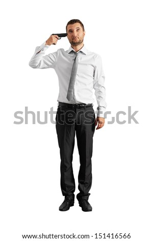 full length shot of quiet businessman with gun. isolated on white background