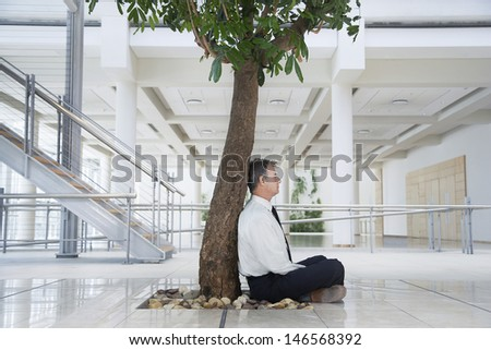 Full length side view of middle aged businessman meditating under tree in office - stock photo