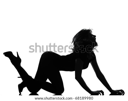 full length silhouette in shadow of a young woman crouching  roar in studio on white background isolated - stock photo