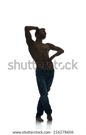 Full length silhouette of a young man dancer, isolated studio white background - stock photo
