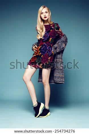Full length studio shot of pretty fashion model  - stock photo