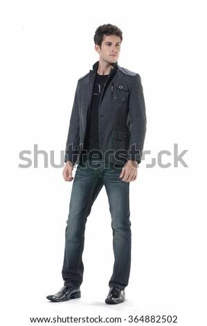 full length Stylish young man posing  - stock photo